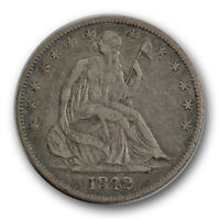 1842 O 50C LIBERTY SEATED HALF DOLLAR EXTRA FINE XF NEW ORLEANS R1343
