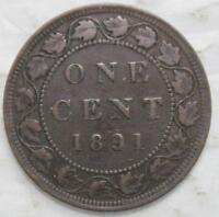 1891 LARGE CENT SEMI KEY DATE OLD DATE QUEEN VICTORIA
