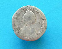 RUSSIAN IMPERIAL SILVER COIN TEN COPECK. CATHERINE 2 TIME. 1766 1767