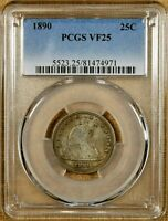 1890 PCGS VF25 SEATED QUARTER   BETTER DATE