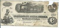 CSA 1862 CONFEDERATE CURRENCY T 40 $100 TRAIN DIFFUSED STEAM 59768  CR298