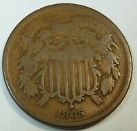 1865 UNITED STATES SHIELD TWO CENT PIECE - VG  GOOD CONDITION