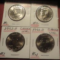 1993 D CHOICE UNC KENNEDY HALF DOLLAR 1 4 YOU PICK,THE 'S YOU WANT SEND EMAIL