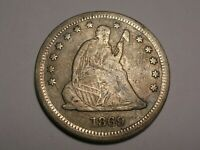 1869 S SEATED LIBERTY QUARTER ABT.VF/VF OBV. DIE CRACK &