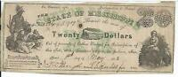 STATE MISSISSIPPI $20 1862 GREEN COTTON PLEDGED 23584 JACKSON TRAIN CR16  6