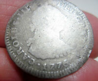 1776 MJ LIMAE LIMA PERU I 1 REAL SILVER   COLONIES      HISTORIC DATE