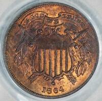 1864 PCGS MINT STATE 65RB CAC SMALL MOTTO TWO CENT ITEMT5505