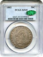 1802 50C PCGS/CAC EXTRA FINE 45 -  DATE - BUST HALF DOLLAR -  DATE