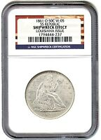 1861 O 50C NGC SS REPUBLIC SHIPWRECK EFFECT LOUISIANA ISSUE