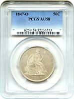 1847 O 50C PCGS AU58   POPULAR O MINT ISSUE   LIBERTY SEATED HALF DOLLAR