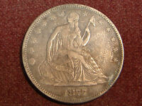 1877 SEATED LIBERTY HALF DOLLAR VF