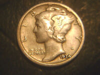 1934 D MERCURY DIME IN/FINE CONDITION..ADD TO SET OR COLLECTION.