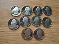 PARTIAL ROLL OF 10 25C WASHINGTON QUARTERS 1988 1989 & 1993 CLAD PROOFS