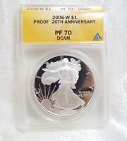 2006 W AMERICAN 1 OZ SILVER EAGLE $1 ANACS PROOF 70 DEEP CAMEO 20TH ANNIVERSARY