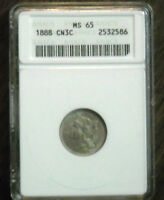 1888 3 CENT NICKEL CN3C ANACS MS65 NICE CERTIFIED COIN