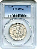1940-S 50C PCGS MINT STATE 65 - FLASHY GEM - WALKING LIBERTY HALF DOLLAR - FLASHY GEM