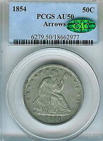 1854 ARROWS SEATED LIBERTY HALF DOLLAR : PCGS AU50 CAC STICKER