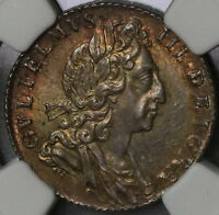 1700 NGC MS 62 WILLIAM III SILVER 6 PENCE GREAT BRITAIN COIN 16110612C