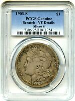 1903-S $1 PCGS VF DETAILS VAM-2, SMALL S, SCRATCH MORGAN SILVER DOLLAR