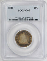 1841 25C LIBERTY SEATED QUARTER PCGS G 6 GOOD TO GOOD TOUGH DATE