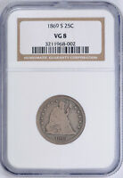 1869 S SEATED LIBERTY QUARTER 25C NGC VG 8 GOOD KEY DATE COIN