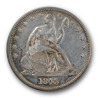 1845 50C LIBERTY SEATED HALF DOLLAR ABOUT UNCIRCULATED AU CLEANED R1413