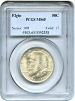 1936 ELGIN 50C PCGS MINT STATE 65 - SILVER CLASSIC COMMEMORATIVE