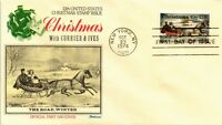 DR JIM STAMPS US CURRIER IVES CHRISTMAS FIRST DAY COVER THE ROAD WINTER 1974