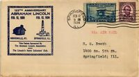 DR JIM STAMPS US ABE LINCOLN AIR MAIL DUAL FRANKED COVER SPRINGFIELD ILLINOIS