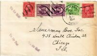 DR JIM STAMPS US YACHATS OREGON AIR MAIL MULTI FRANKED COVER 1934 MAP ON BACK