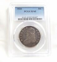 1826 CAPPED BUST/LETTERED EDGE HALF DOLLAR PCGS XF 45  SILVER 50C