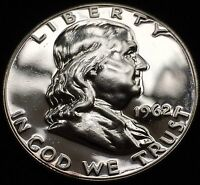 BEAUTIFUL GEM PROOF UNCIRCULATED 1962 FRANKLIN HALF DOLLAR. CAMEO REVERSE