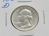 1955 D WASHINGTON QUARTER 90 SILVER U.S. COIN C1676