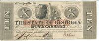 STATE OF GEORGIA MILLEDGEVILLE $10 1862 SIGNED ISSUED  31369 CR4 CRISP UNCIRC