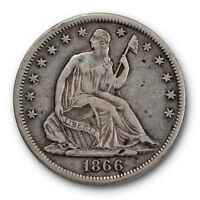 1866 S 50C MOTTO LIBERTY SEATED HALF DOLLAR EXTRA FINE XF R1467