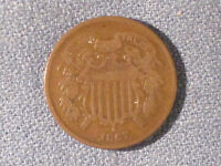 1867  TWO CENT PIECE /  STARTER COIN.  VG DETAILS