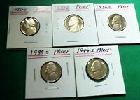 1980S 1981 S,1986S 1988S,1989 S PROOF JEFFERSON NICKELS