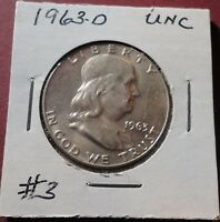 1963 D FRANKLIN HALF DOLLAR CHOICE UNCIRCULATED M S ORIGINAL SURFACE NICE BL  3
