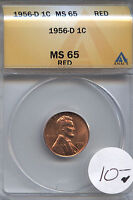 1956 D 1C MS65RED ANACS BUSINESS ALWAYS  WHOLESALE DEALER COST
