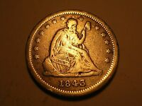 1843 SEATED LIBERTY QUARTER FINE FAINT LIGHTNING BOLT ON REV. & ATTRACTIVE