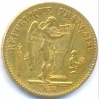 1849 GOLD 20 FRANCS ANGEL FRANCE TWO YEARS TYPE