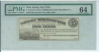 NEW JERSEY FARMERS & MERCHANTS BANK 5 CENT 1862 975 MIDDLETOWN KEY PORT PMG 64