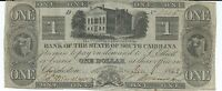 SOUTH CAROLINA/ CHARLESTON BANK OF THE STATE $1 1862 VF 6215 OLD STATE HOUSE