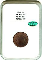 1864 2C NGC/CAC MINT STATE 64 RB SMALL MOTTO 2-CENT PIECE