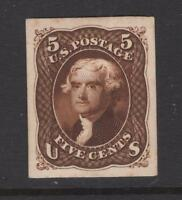 USA 1861 5 JEFFERSON PLATE PROOF ON CARD - SC 76P4  CATS $140.00