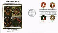 DR JIM STAMPS US CHRISTMAS WREATHS MULTI FRANKED COLORANO SILK FIRST DAY COVER
