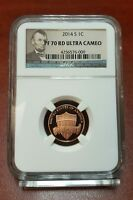 2014 S SHIELD PROOF LINCOLN CENT NGC PF70RD ULTRA CAMEO PERFECT