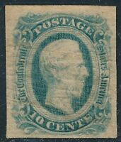 DR JIM STAMPS OLD US CONFEDERATE 10C NO GUM CREASED TONED NO RESERVE