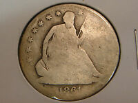 1861 S LIBERTY SEATED HALF DOLLAR   CLEANED CIVIL WAR DATE