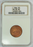 1866 TWO CENT PIECE 2C NGC MINT STATE 65 RD RED BEAUTY OLD HOLDER FULL RED